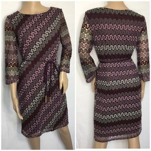 Sandra Darren Crochet Knit Sheath Midi- Dress